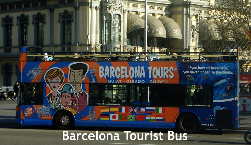 Open  Double-Decker tourist bus in Barcelona